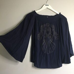 New Lilly Pulitzer Nita Top Navy Blue Blouse Flare